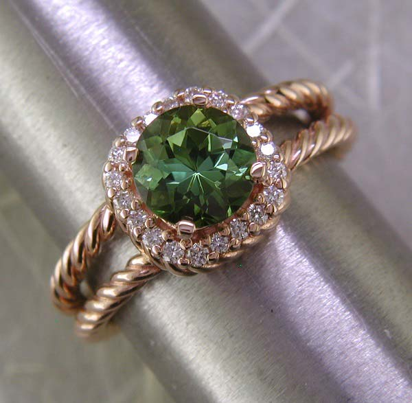 14K rose gold, green tourmaline and diamond ring. As with most of our pieces, this is available any color metal, any center stone of choice.