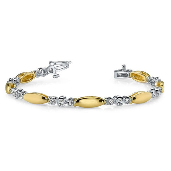 14K two-tone tennis bracelet with 3-stone links. Available many total carat weights and lengths.