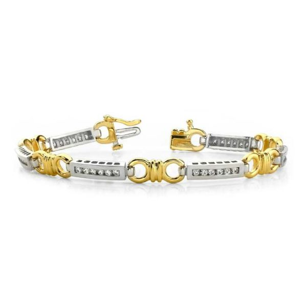 14K two-tone fancy link tennis bracelet.