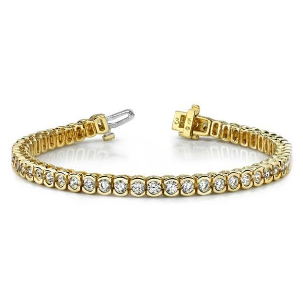 14K yellow gold semi-bezel tennis bracelet. For those with a keen eye, you'll realize this is a repeat in this category. We simply wanted to give the yellow gold lovers out there some eye candy too! Available many total carat weight and lengths.