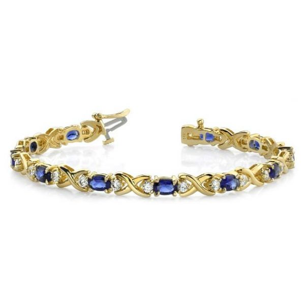 14K yellow gold colored stone tennis bracelet. Choose any gemstone you like. Available many stone sizes and lengths.