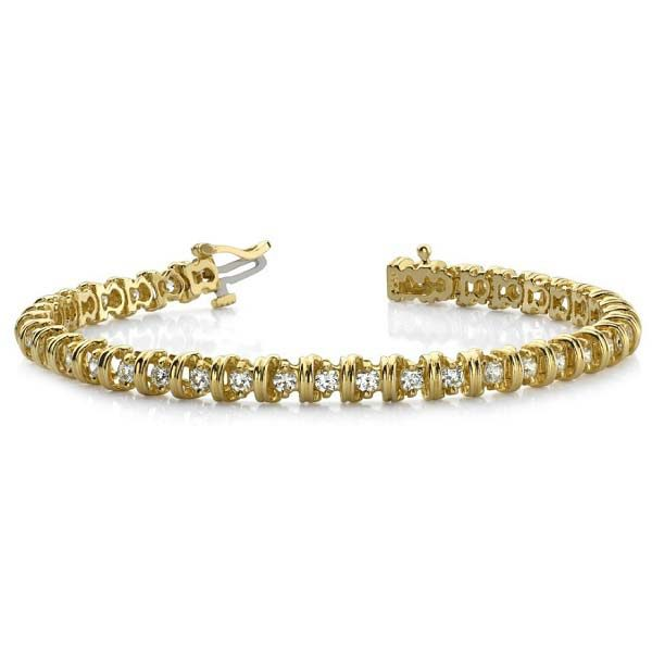 14K yellow gold tennis bracelet with grooved bar separators. Available many total carat weights and lengths.