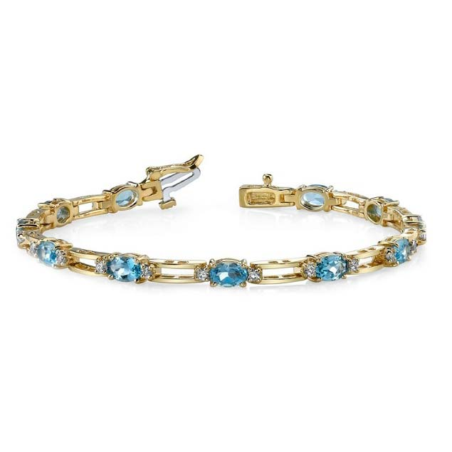 14K yellow gold colored stone tennis bracelet. Available with the gemstone of your choice.