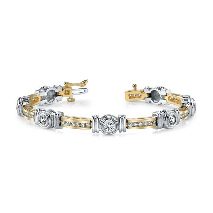 14K two-tone tennis bracelet. Strong, yet refined.