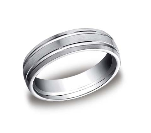 14K white gold 6mm wide brushed and polished wedding band. Available platinum, yellow gold, white gold, rose gold, or tungsten (7mm).