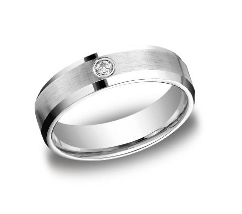 14K white gold 6mm wide brushed and polished beveled edge band with single .08 carat diamond. Available in 14K rose, yellow, or white gold as well as platinum.