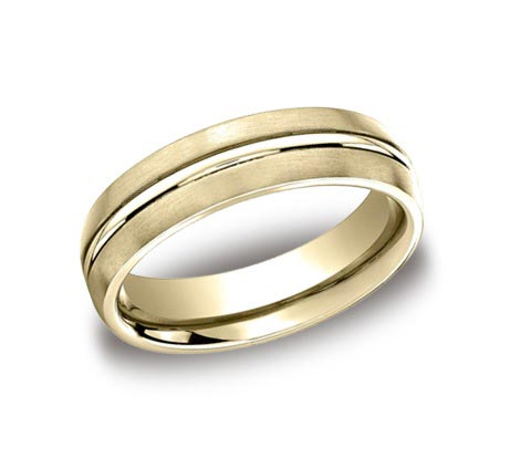 14K yellow gold brushed and polished band. One of the most timeless designs you can put on your finger. Available platinum, cobalt chrome, yellow gold, white gold, rose gold, and tungsten.