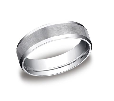 14K white gold 6mm brushed and polished beveled edge band. Available platinum, yellow gold, white gold, rose gold, and tungsten.