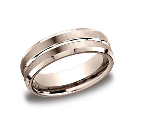 14K rose gold 6mm wide brushed and polished beveled edge band. Available platinum, rose gold, white gold, yellow gold, cobalt chrome (7mm), and tungsten (7mm).