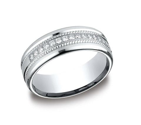 7.5mm wide 14K white gold band with .32 carat of total diamond weight and roping detail. Available white, yellow, and rose gold.