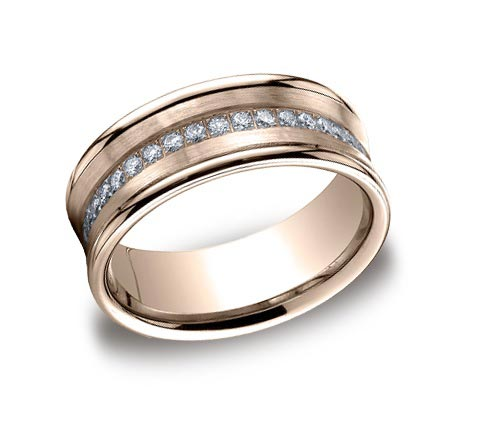 7.5mm wide 14K rose gold band with .32 carat total weight of diamonds. Also available 5.5mm wide. Available 14K rose, white, or yellow gold.