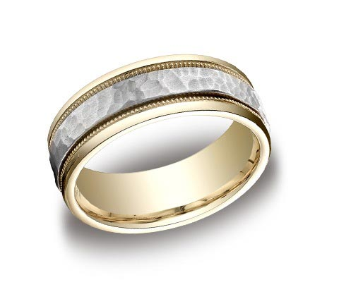 8mm wide 14K two-tone brushed and polished hammered and milgrain detailed band. Available all one color. Available in 6mm with. Available in cobalt chrome (7mm).
