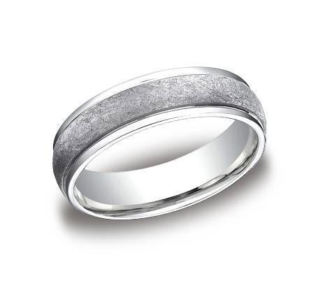 14K white gold 6mm wide wire brushed and polished band. Availalble in platinum, white gold, yellow gold, and rose gold.