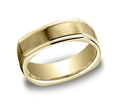 14K yellow gold 7mm wide brushed and polished groove band. One STRONG looking ring. Available yellow, white, and rose gold.