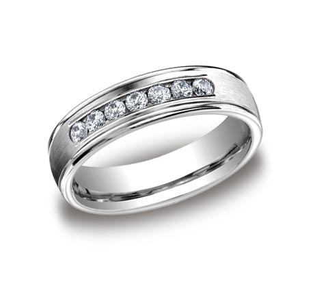 14K white gold brushed and polished 6mm wide band with .42 carat of total diamond weight. Available platinum, rose gold, white gold, and yellow gold.