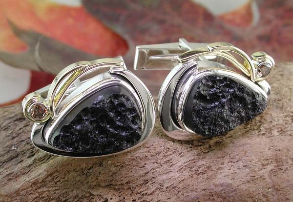 14K two-tone white and yellow gold tektite and natural fancy color diamond cufflinks.