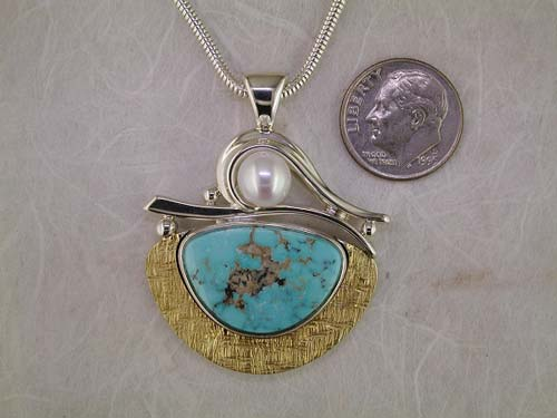 Hand forged sterling silver, 22K yellow gold, pearl and turquoise pendant.