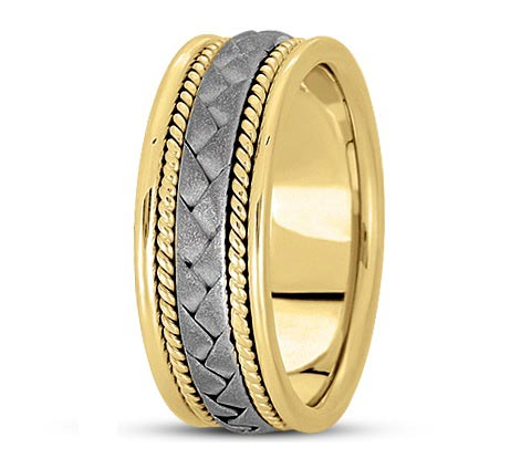 14K two-tone 8mm wide woven and roped detail band. Try it in all white or yellow gold!