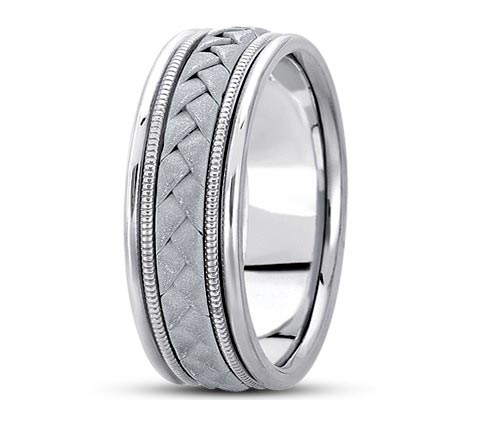 14K white gold 8mm wide woven and milgrain detailed wedding band. Available yellow gold or two-tone! Available varying widths.
