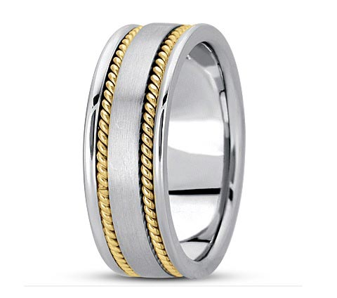 8mm wide brushed and polished rope detail wedding band. Available all one color, or reverse two-tone. Available different widths.