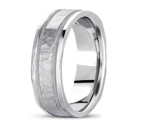 7mm wide square profile brushed and polished hammered and milgrain detailed wedding band.