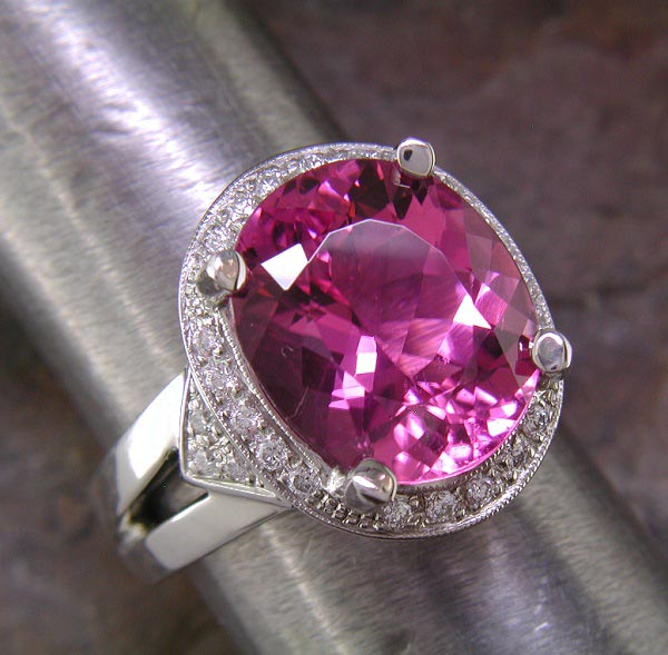 14K white gold ring with large oval pink tourmaline.