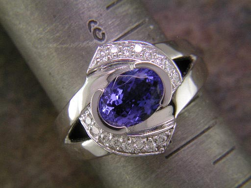 14K white gold and tanzanite