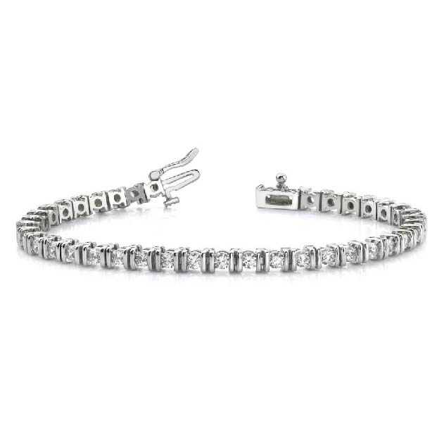14K white gold tennis bracelet with channel-set diamonds. Available many total carat weights and lengths.