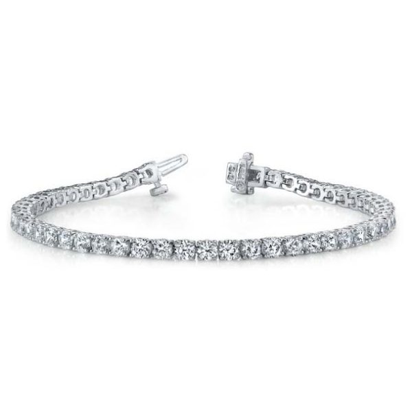 """The classic 4-prong diamond tennis bracelet, often called a """"line bracelet"""". Available many different total carat weights and lengths."""