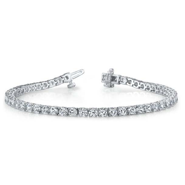 "The classic 4-prong diamond tennis bracelet, often called a ""line bracelet"". Available many different total carat weights and lengths."