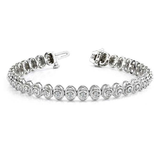 14K white gold double-orbit tennis bracelet. Available many total carat weights and lengths.