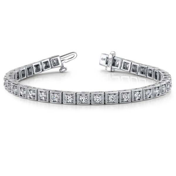 14K white gold milgrain detailed tennis bracelet. Available in many total carat weights and lengths.