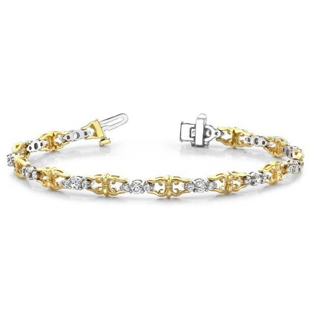 14K two-tone tennis bracelet. Another fleur-de-lis themed tennis bracelet. Talk about sculptural!!!