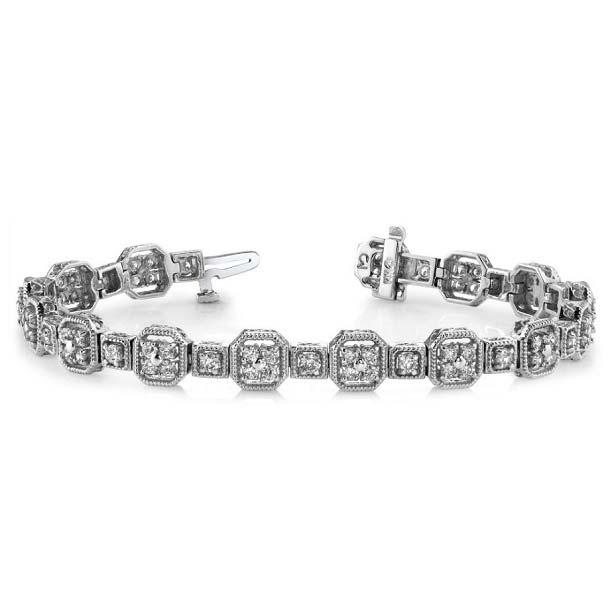 14K white gold tennis bracelet. You want Art Deco? We say 'delivered'!