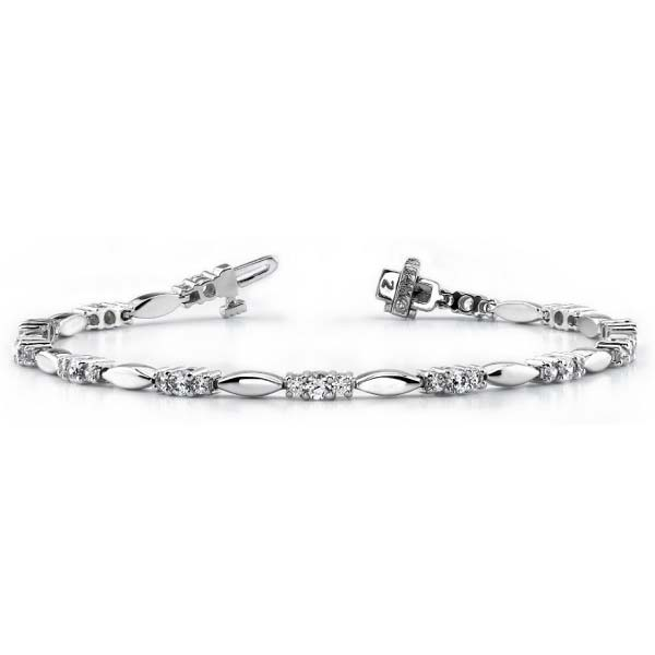 14K white gold almond-shape link tennis bracelet. Available many total carat weights and lengths.
