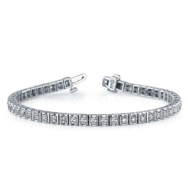 14K white gold 'round in square' tennis bracelet. Elegance incarnate.