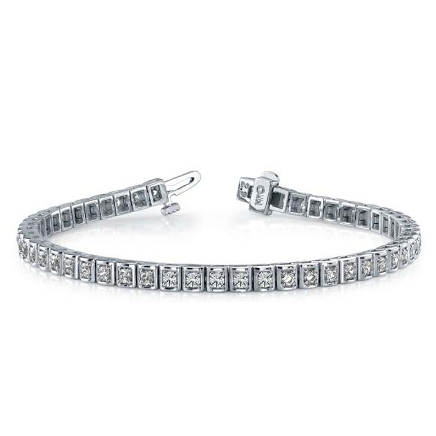 14K white gold 'round in square' tennis bracelet. Elegance incarnate.