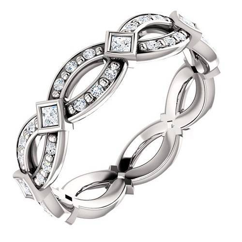 14K white gold eternity band with diamond. Also available with ROUND main stones.